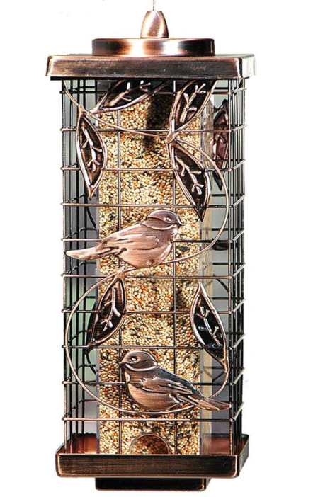 Squirrel-Resistant Caged Tube Feeder, Copper, 2lb capacity