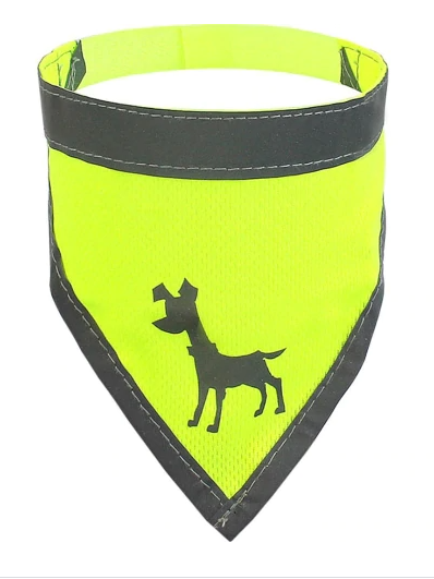 Visibility Dog Bandana, Neon Yellow - 3 Sizes Available