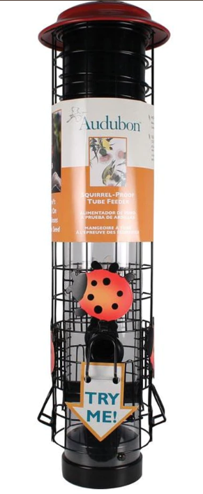 Ladybug Design Squirrel-Resistant Tube Feeder, 2.5lb capacity