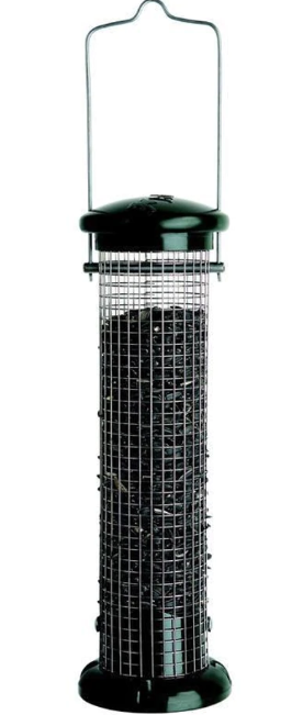 Peanut & Black Oil Sunflower Screen Tube Seed Feeder, Black & Green, 1lb capacity