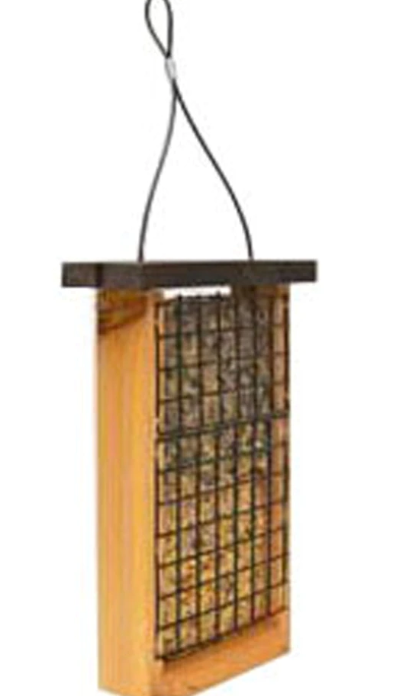 Double Cedar Tail-Prop Suet Feeder