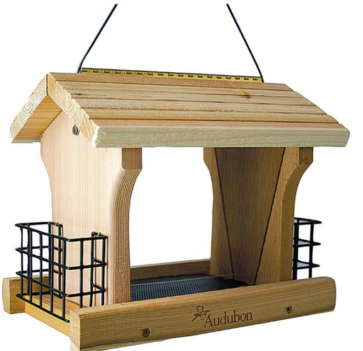 Cedar Wood Ranch Style Bird Feeder with Suet Cages
