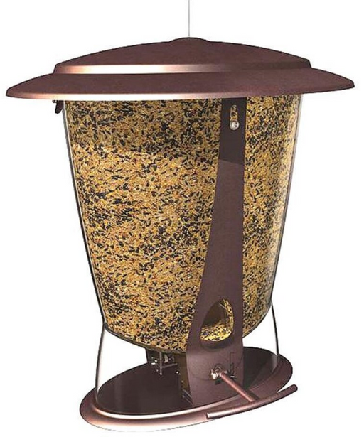 Squirrel X Squirrel Proof Feeder, Brushed Copper - 4lb capacity