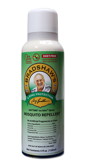 Bradshaw's 4 Ring Protection ANYTIME no-bite Spray, Mosquito Repellent, DEET-FREE