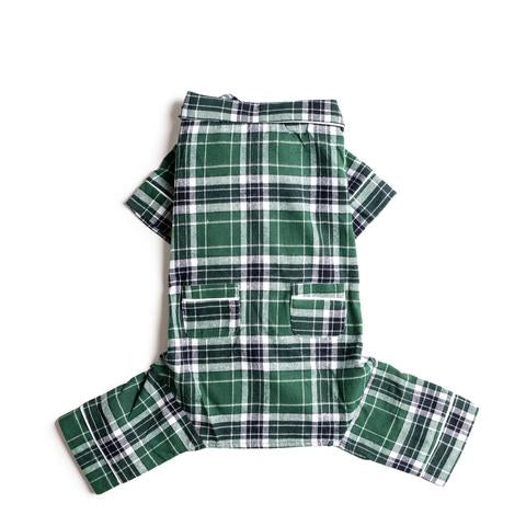 Fabdog Flannel Dog Pajamas, Green Plaid
