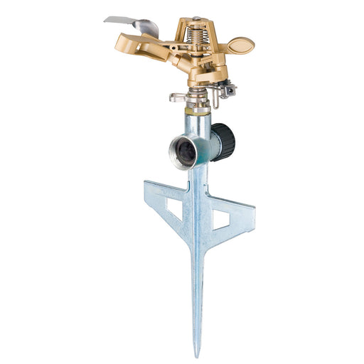 Melnor Metal Pulsating Sprinkler with Step Spike 85 ft. diameter