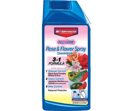 Bayer BioAdvanced ALL-IN-ONE Rose & Flower Care Spray (Non-Neonic) 32 oz concentrate