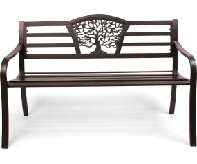 Steel Park Bench with Arched Back, Tree of Life design