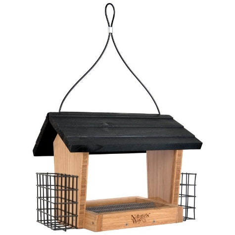 Nature's Way HOPPER FEEDER BAMBOO WITH SUET CAGES