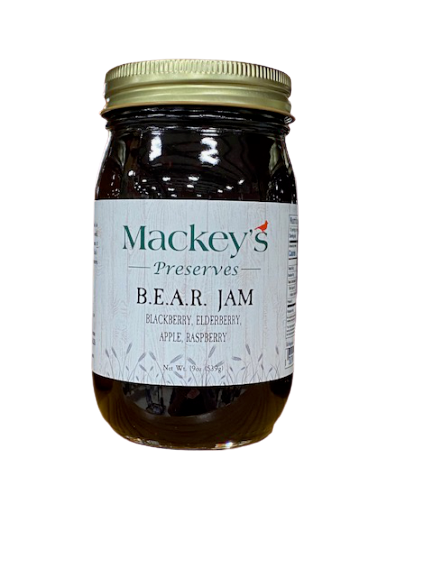 Mackey's Preserves, B.E.A.R. Jam, (Blackberry, Elderberry, Apple, Raspberry), 19oz
