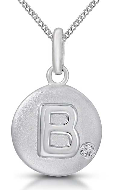 Pure at Birth letter B pendant with necklace