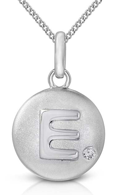 Pure at Birth letter E pendant with necklace