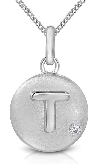 Pure at Birth letter T pendant with necklace
