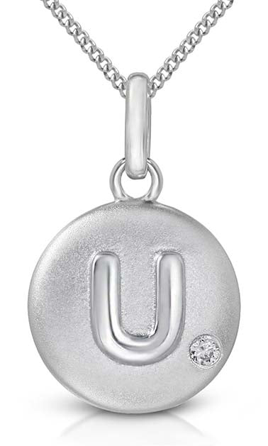 Pure at Birth letter U pendant with necklace