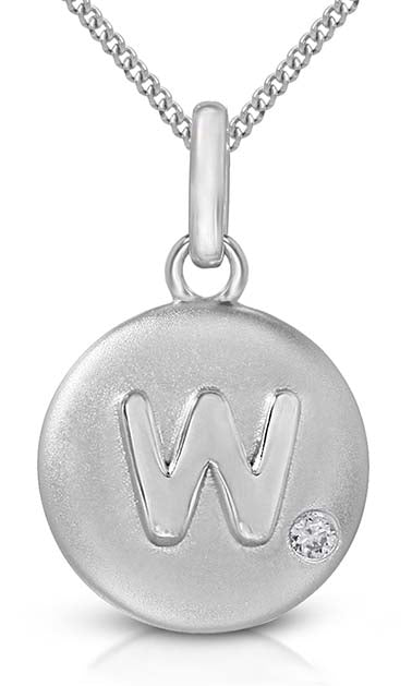 Pure at Birth letter W pendant with necklace