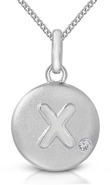 Pure at Birth letter X pendant with necklace