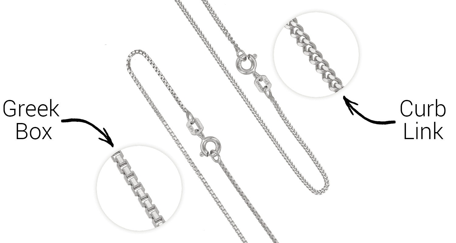 Two styles of sterling silver necklaces