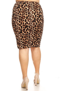 Laura Leopard Print Pencil Skirt-Style 2