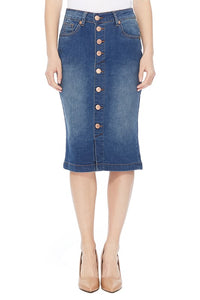 Button Front Jean Skirt-Vintage Wash