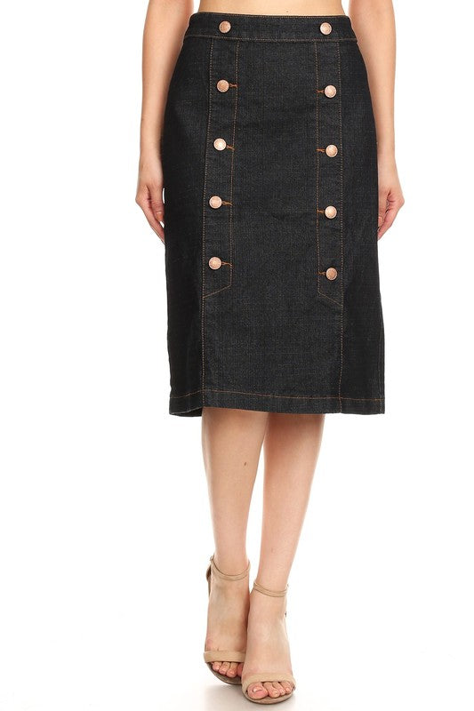 Tiffany Black Button Jean Skirt