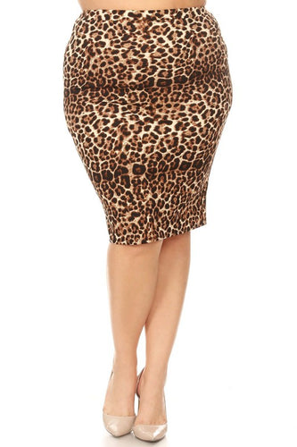 Laura Leopard Print Pencil Skirt-Style 1
