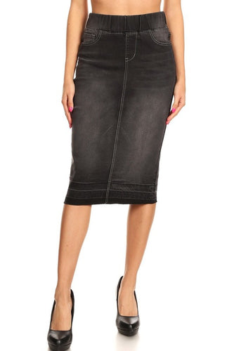 Debbie Jean Skirt Raw Hem-Black Wash