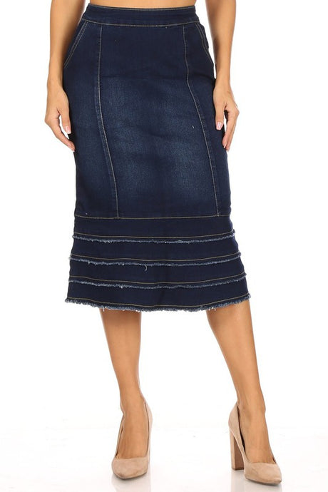 Angela Calf Length Layered Jean Skirt