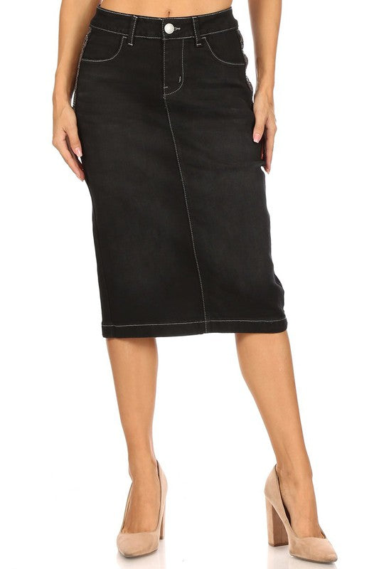 Samantha Black & Bling Jean Skirt