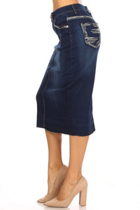 Tabitha Embroidered Jean Skirt-Dark Wash
