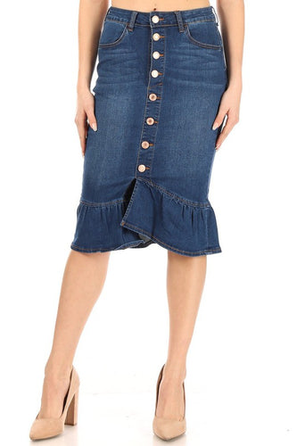 Buttons & Ruffles Skirt-Medium Wash