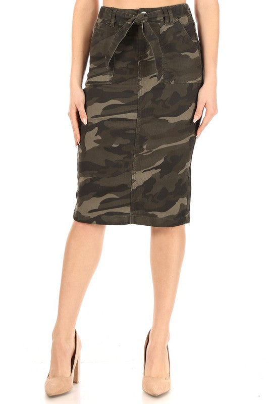 Rissa Camo & Twill Belted Skirt