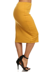Laura Mustard Colored Pencil Style Skirt