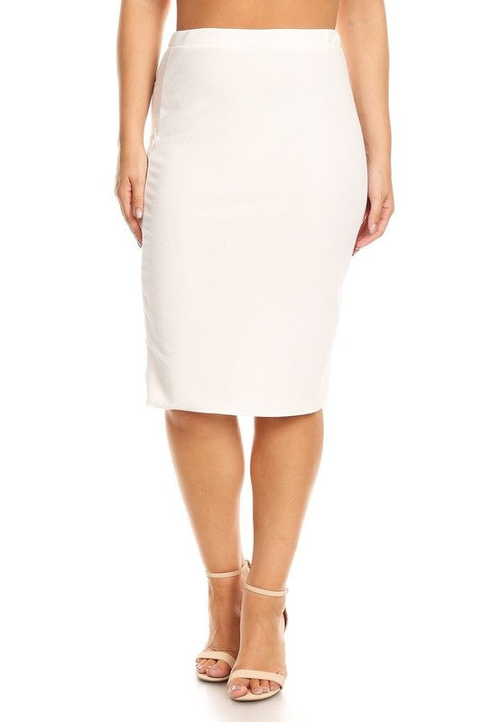 Laura White Pencil Style Skirt-Textured