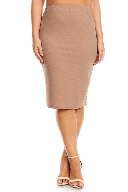 Laura Tan Colored Pencil Skirt-Textured