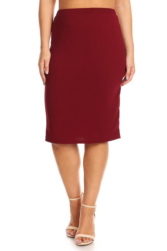 Laura Burgundy Pencil Skirt-Textured