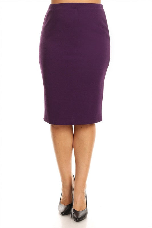 Laura Purple Pencil Style Skirt-Textured