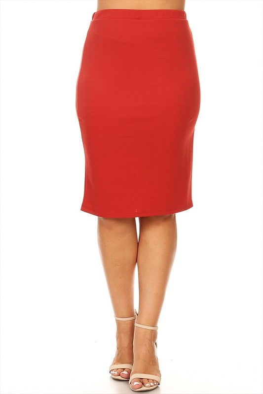 Laura Rust Colored Pencil Skirt-Textured