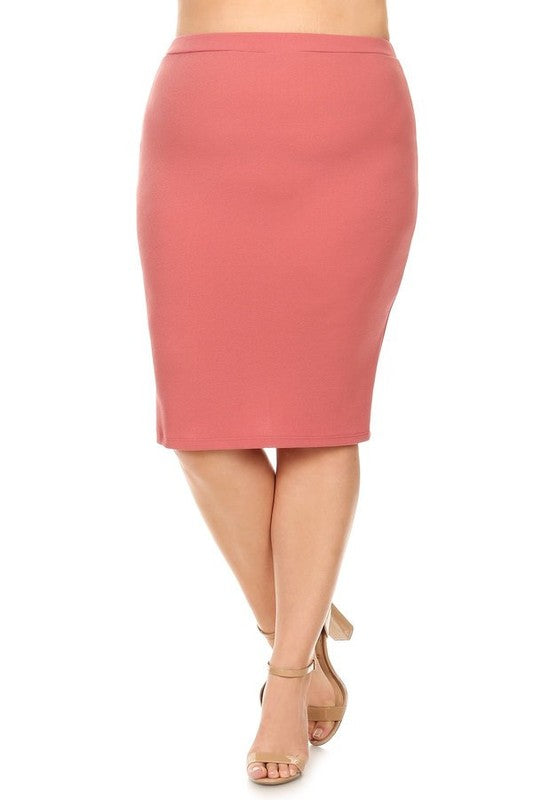 Laura Dusty Pink Pencil Skirt-Textured