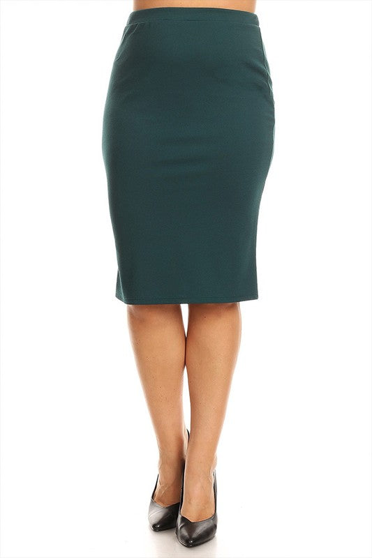 Laura Teal Pencil Style Skirt-Textured