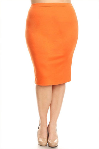 Laura Orange Pencil Style Skirt