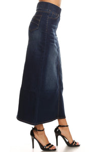 Debbie Long Jean Skirt- Dark Wash