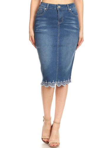 Lacy Detail Jean Skirt-Vintage Wash