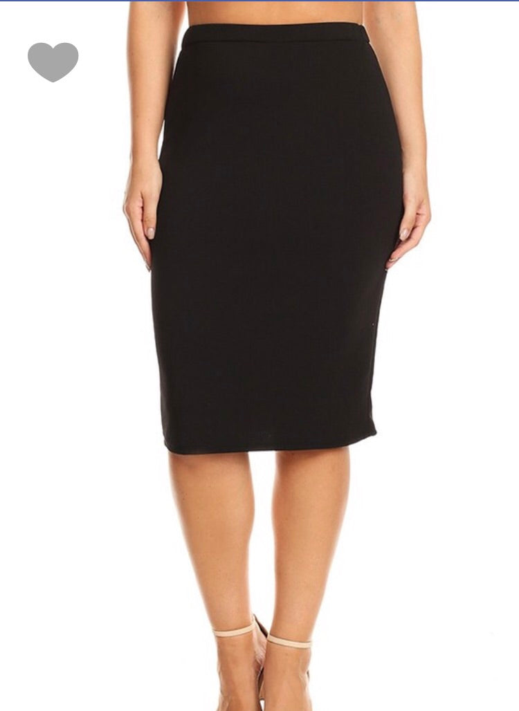 Laura Black Pencil Style Skirt-Textured