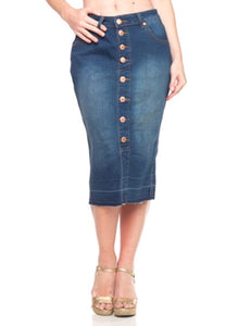 Button Front Jean Skirt-Medium Wash