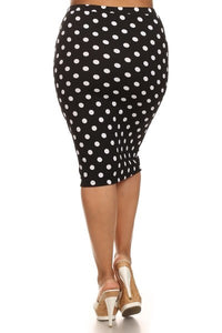 Laura Black Polka Dot Pencil Skirt