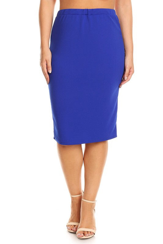 Laura Royal Blue Pencil Style Skirt-Textured
