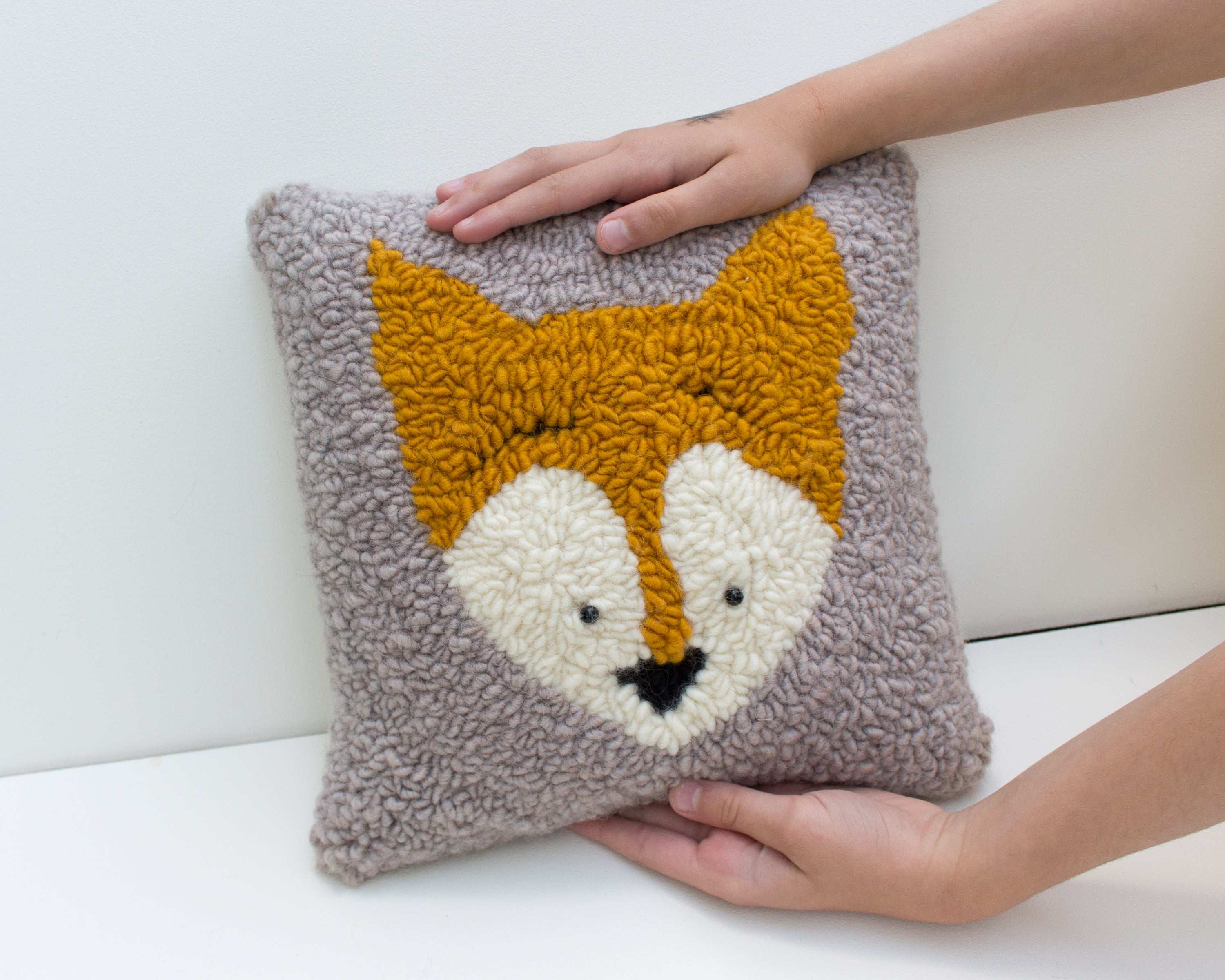 Punch Needle Fox Pillow