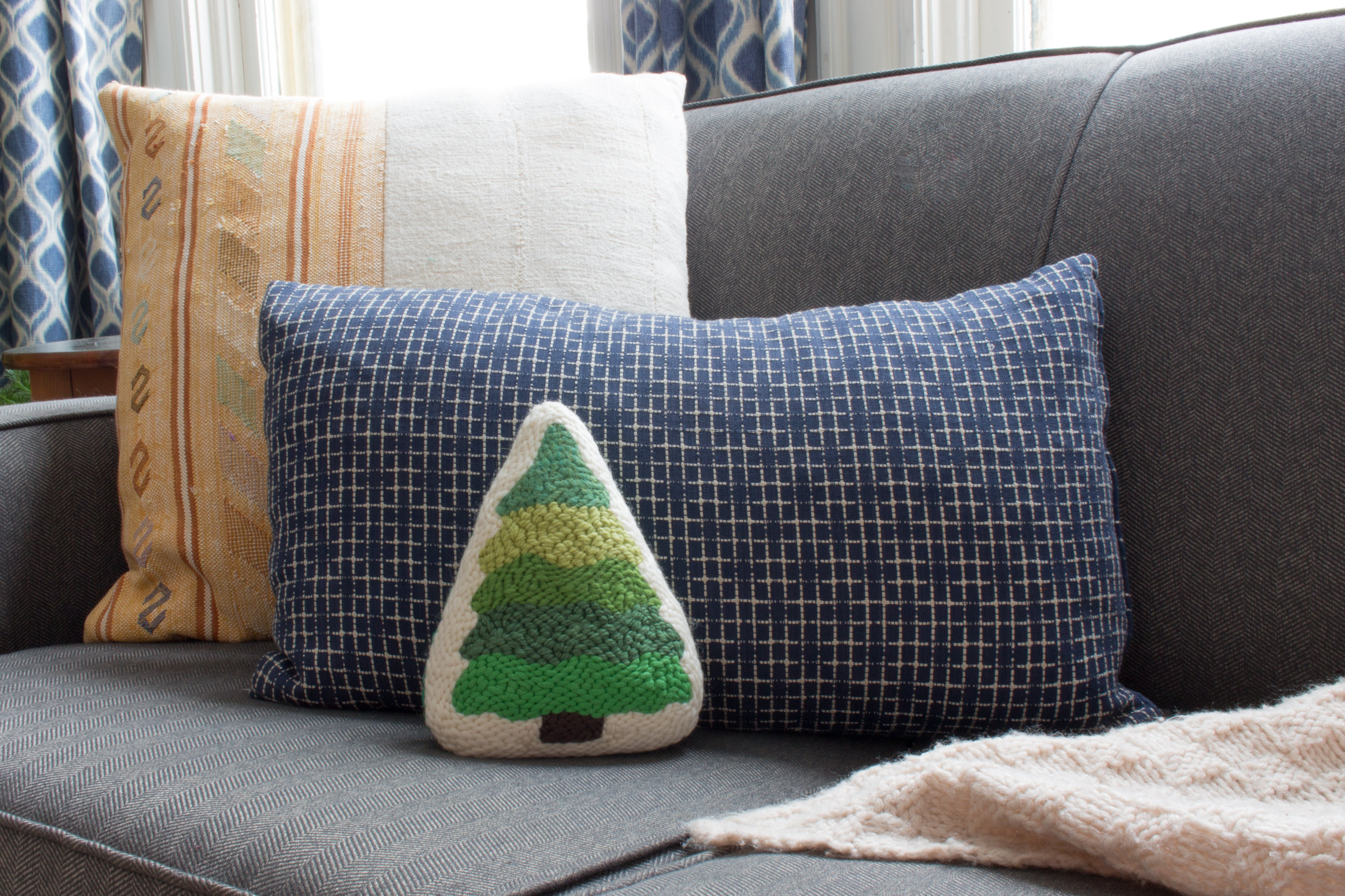 Punch needle tree pillow