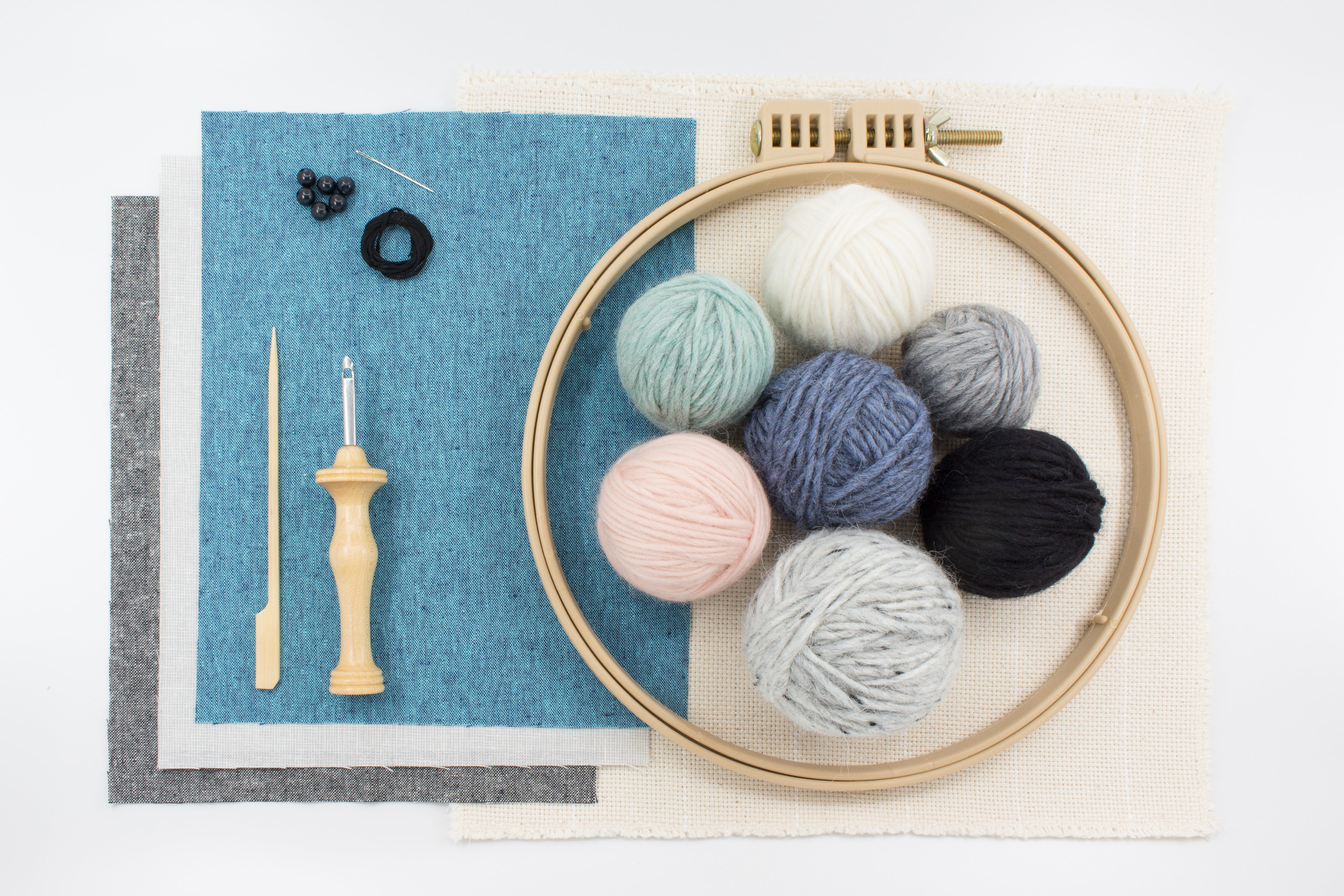 Punch needle stuffed animal kit supplies