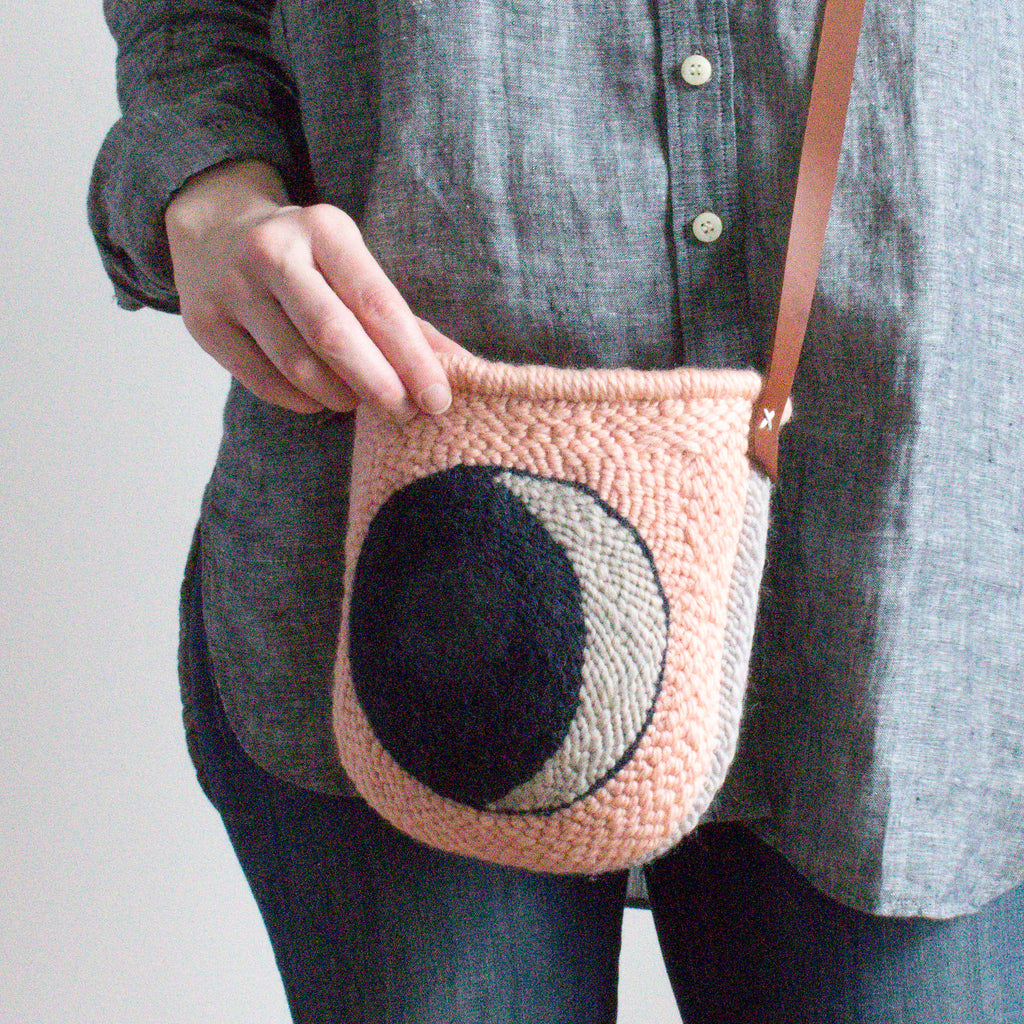 Punch needle waxing moon bag
